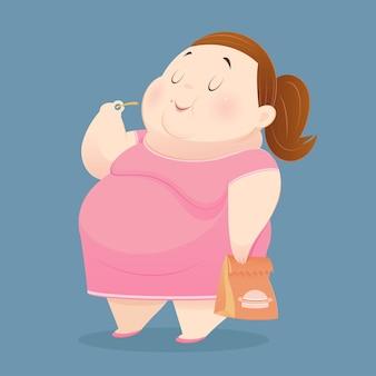 A mulher gorda gosta de comer muitas comidas inúteis.