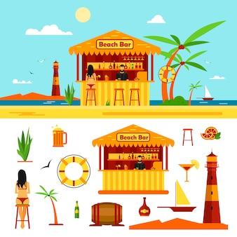 A mulher no biquini senta-se na barra em uma praia. conceito de férias de verão. ilustração vetorial em estilo simples.