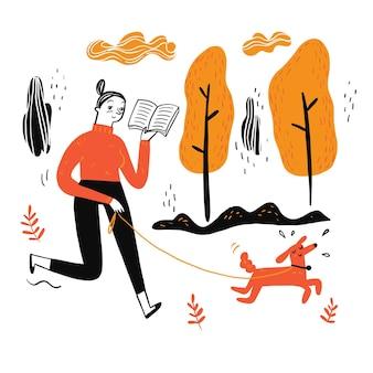 A mulher passeando com o cachorro lendo um livro favorito, estilo de ilustração do doodle