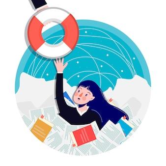 A mulher pega o colete salva-vidas. desenho animado . ilustração de negócios.
