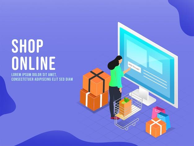 A mulher que toca adiciona ao botão do carrinho na tela do desktop com carrinho, leva sacos e caixas do pacote no fundo azul para o conceito em linha da compra.