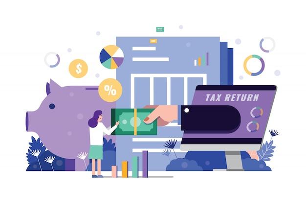 A mulher recebe a mão do formulário de retorno de imposto no desktop do computador.