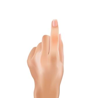 A mulher retoca o dedo indicador do polegar da mão que aponta.