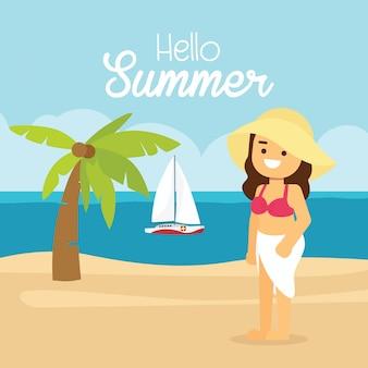 A mulher vai viajar nas férias de verão, menina em uma praia ensolarada com uma palmeira.