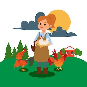 A mulher vive e trabalha na ilustração da fazenda.