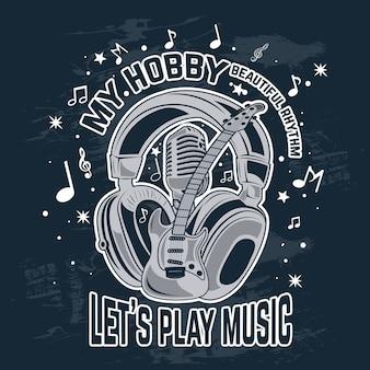 A música é meu hobby, ilustração vetorial de instrumento musical