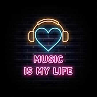 A música é minha vida. modelo de design de vetor de sinais de néon estilo néon