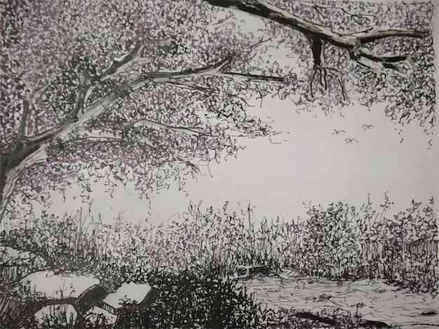 A natureza da pintura de paisagem em aquarela de campo sobre fundo de papel