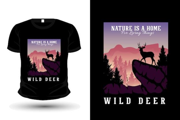 A natureza é um lar para as coisas vivas ilustração da silhueta design de camiseta plana
