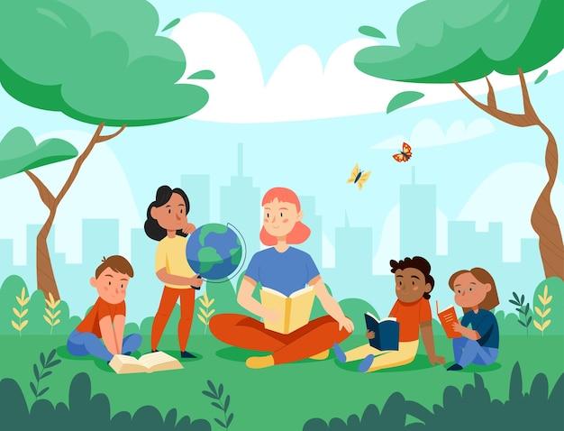 A natureza estuda a composição do globo com a paisagem urbana e o cenário do parque com crianças e professor ensinando geografia