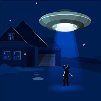 A nave alienígena sequestra o homem sob as nuvens da noite