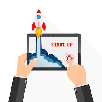 A nave espacial cai fora da tela do tablet