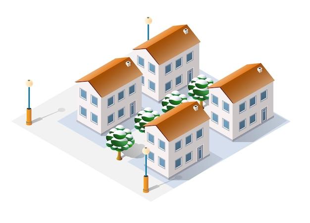 A neve da paisagem de inverno do natal cobriu a cidade isométrica futurista de prédios e construções de ruas