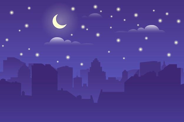 À noite, a paisagem urbana. silhueta arquitetônica