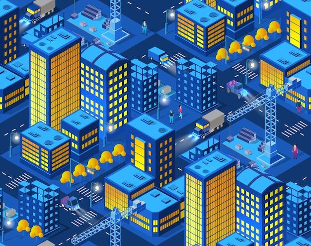 A noite de construção industrial residencial guindaste cidade inteligente
