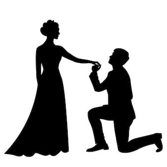 A noiva e o noivo estão lado a lado, silhuetas em preto e branco