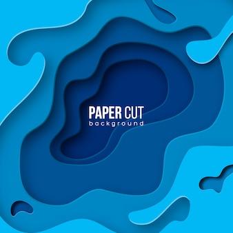 A onda azul abstrata do fundo 3d com papel cortou formas.