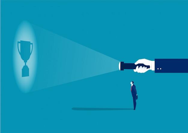 A orientação do empregador ao empregado para obter o prêmio pelo ilustrador do conceito de sucesso no trabalho