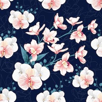 A orquídea sem emenda do rosa do teste padrão floresce o fundo abstrato.