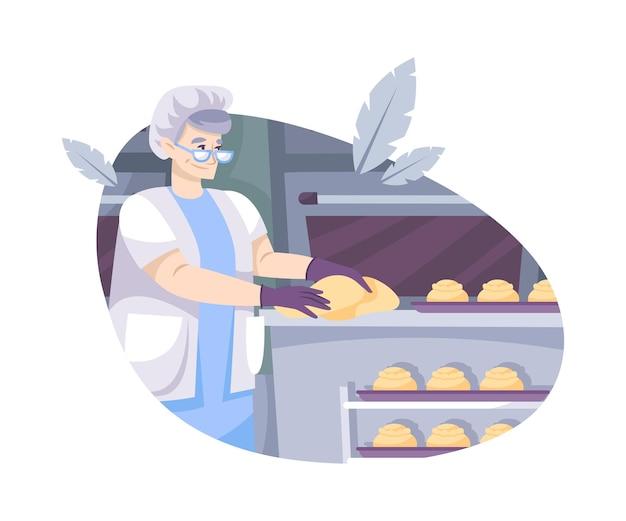 A padaria define uma composição plana com o personagem de uma mulher idosa dando forma a uma massa na cozinha