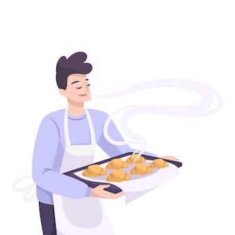 A padaria define uma composição plana com um personagem masculino segurando uma bandeja com croissants recém-assados