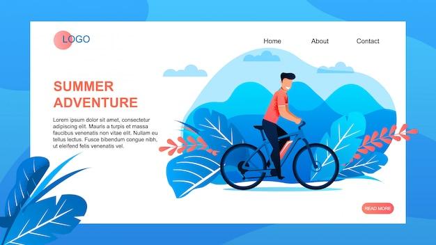 A página de destino da agência de turismo oferece a aventura de verão.