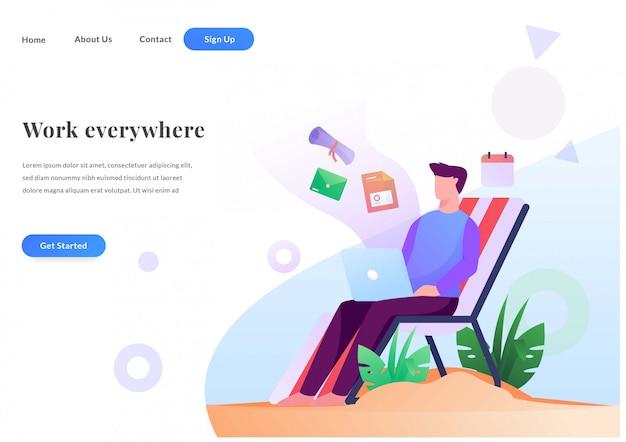 A página de destino da web de negócios funciona em qualquer lugar