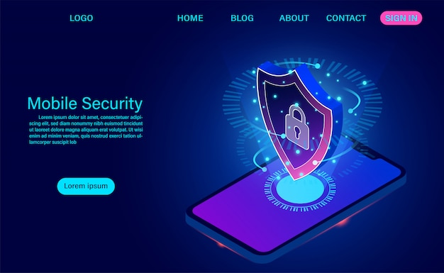 A página de destino de segurança móvel protege o telefone contra roubos de dados e ataques. design plano isométrico. ilustração vetorial