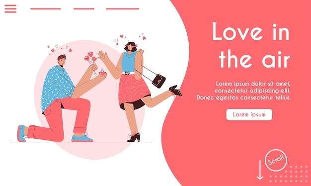 A página de destino do amor está no conceito do ar