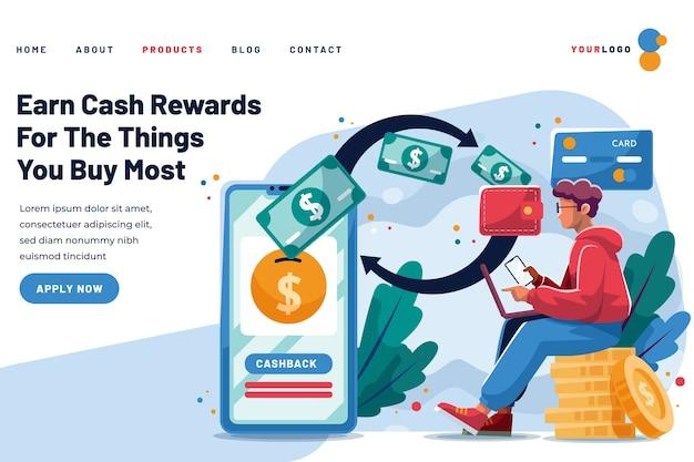 A página de destino do cashback ganha recompensas
