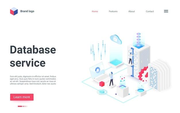 A página de destino isométrica do serviço de gerenciamento de banco de dados funciona com equipamento de hardware