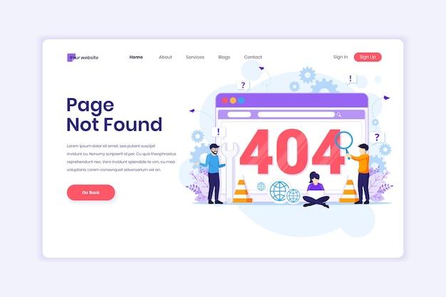 A página de erro 404 não foi encontrada com pessoas tentando corrigir o erro em uma ilustração de página da tela da web