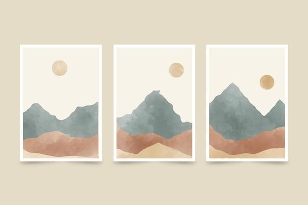 A paisagem abstrata pintada à mão em aquarela cobre a coleção