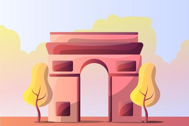 A paisagem da ilustração do arco do triunfo para uma atração turística