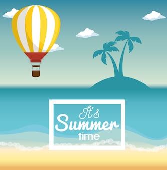 A paisagem da praia com balão de ar quente, a silhueta da ilha e o horário de verão assinam. ilustração vetorial.