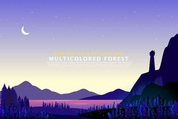 A paisagem de luz casa de silhueta