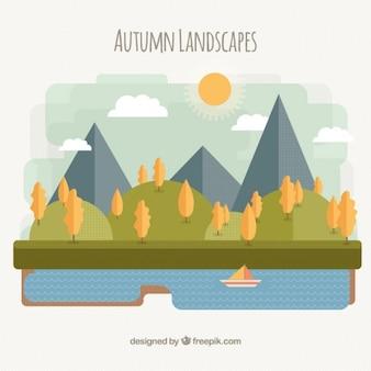 A paisagem do outono com árvores amarelas