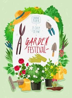A paisagem exterior do jardim planta o cartaz vertical dos desenhos animados. verão e primavera flores no jardim. ferramentas de jardinagem