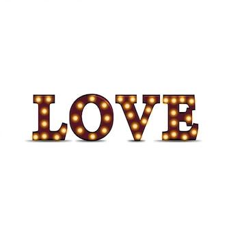 A palavra amor de letras de madeira tridimensionais com lâmpadas isoladas no branco