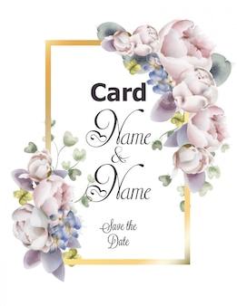 A peônia floresce a aquarela do cartão de casamento