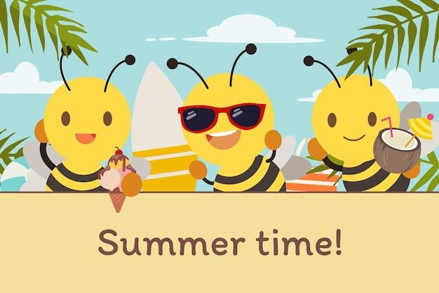 A personagem da abelha fofa usa óculos escuros com suco de coco