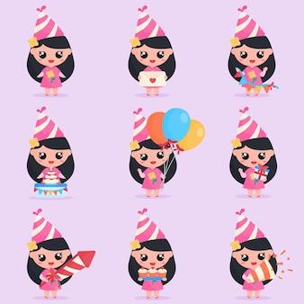 A personagem fofa comemora a festa de aniversário com elementos de festa de aniversário em conjunto