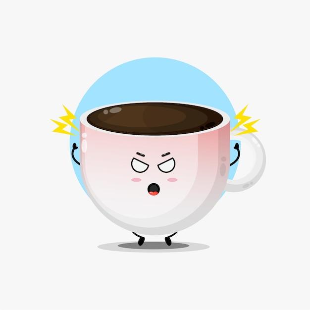 A personagem fofa do café está zangada