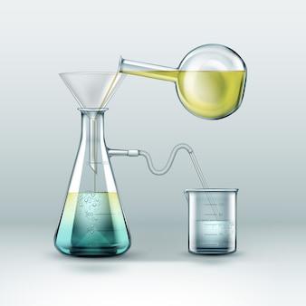 A pesquisa de reações químicas de vetor é feita usando frascos de vidro cheios de líquido amarelo azul, funil e copo isolados no fundo
