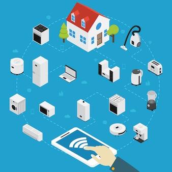 A pessoa de composição isométrica de eletrodomésticos inteligentes controla todos os aparelhos elétricos da casa usando o tablet