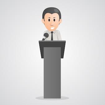 A pessoa fala no pódio do microfone. ilustração vetorial