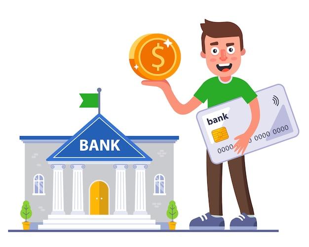 A pessoa recebeu um reembolso de seu cartão do banco. negócio bancário lucrativo.