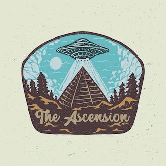 A pirâmide ufo da ascensão e a ilustração do deserto