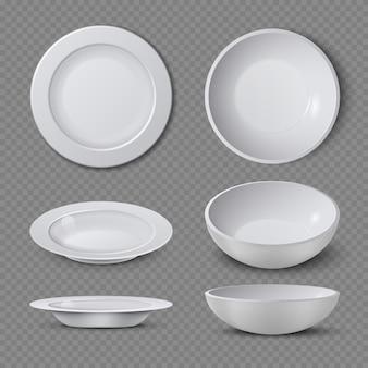 A placa cerâmica vazia branca em pontos de vista diferentes isolou a ilustração do vetor. prato e prato limpo para cozinha, louça de porcelana