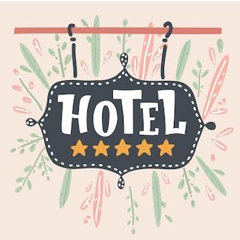 A placa do hotel com cinco estrelas douradas